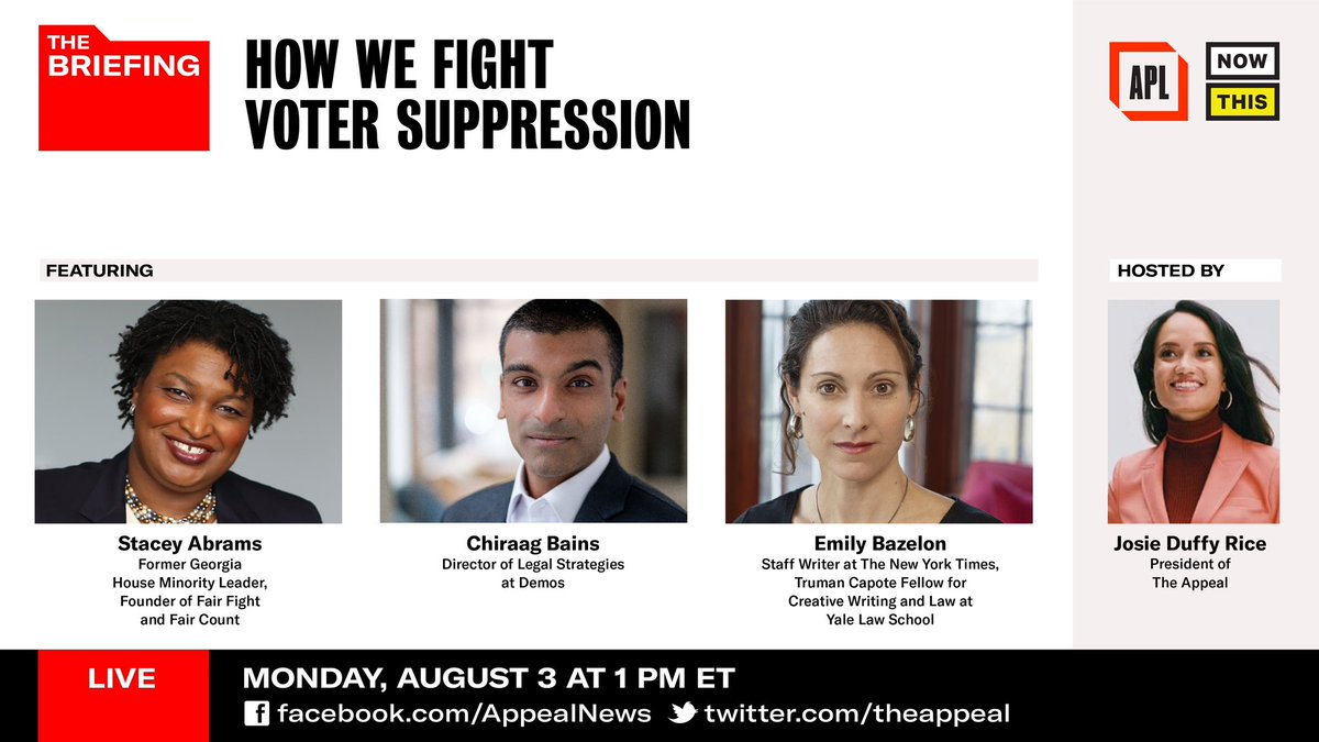 I look forward to joining @chiraagbains, @emilybazelon and @theappeal's @jduffyrice today, 8/3, at 1pm ET. Watch our live conversation here: facebook.com/AppealNews