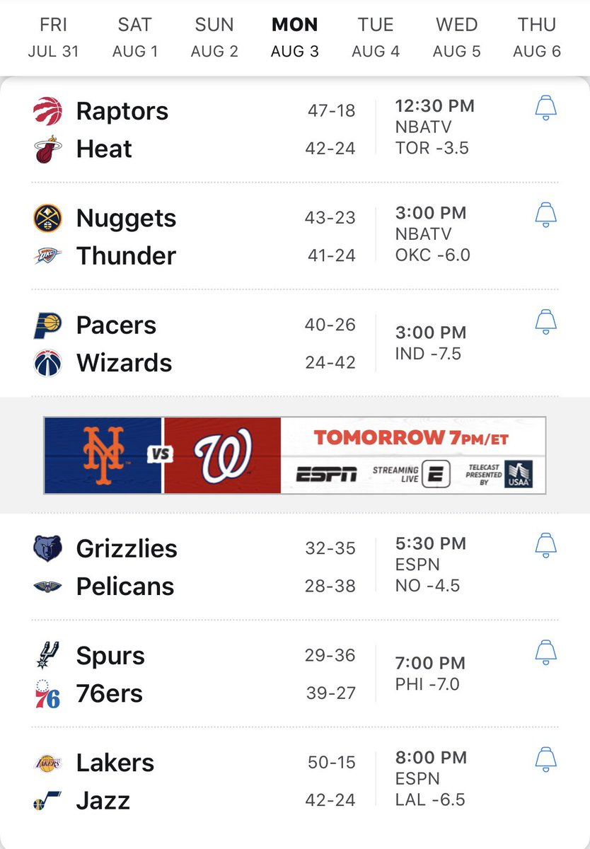 Not sure how much of it I'll be able to tune in for, but I can say this for sure, checking scores all day is going to make this Monday better than last.   #NBATwitter #nbabubble #NBAisBACK #nbaplayoffs #ballislife #ringer #basket #nbanews #nbatv #nbastyles #HoopStreams #hoops https://t.co/c5Dh3N7asN