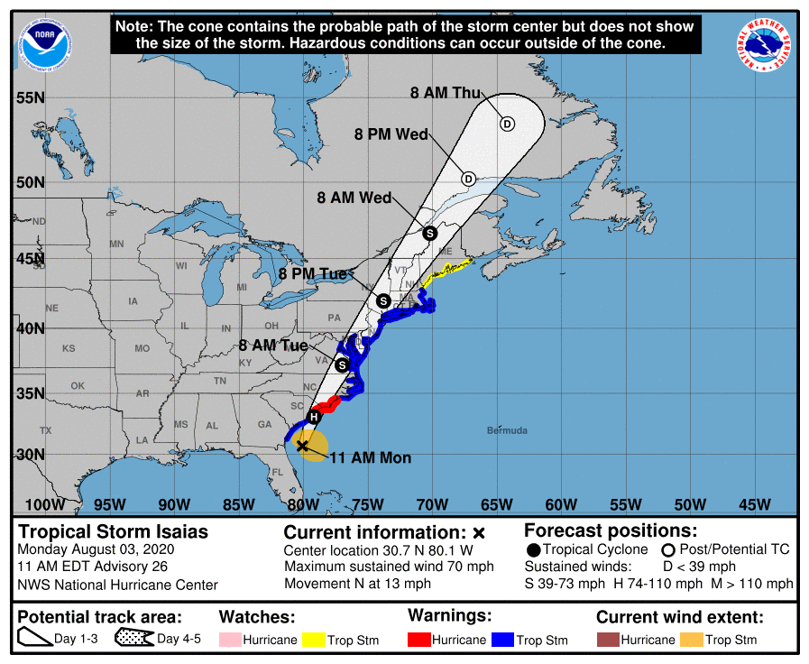 NHC Advisory as of 11am. Isaias making landfall near SC/NC border this afternoon.