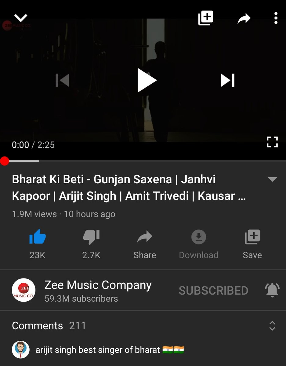 Bharat Ki Beti What A Nice Song 🇮🇳🇮🇳One More Patriotic Song Of Arijit Da ❤  Superb Music By #AmitTrivedi Sir.. Amazing Lyrics By #KausarMunir & Once Again #ArijitSingh Da Nailed with His Voice ❤🇮🇳  1.9M+ Views Till Now & Still Increasing ❤🇮🇳  Proud To Be Indian & Arijitian🇮🇳
