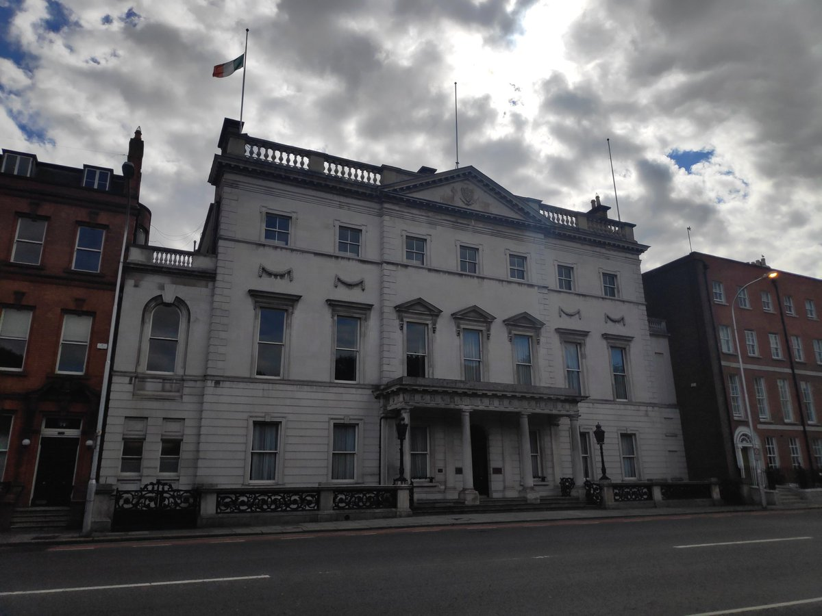 The national flag flying at half mast at Government Buildings and Iveagh House to mark the passing of Nobel Peace Prize Laureate John Hume. Rightly remembered across the world today as one of Ireland's and Europe's greatest political leaders and peacemakers.