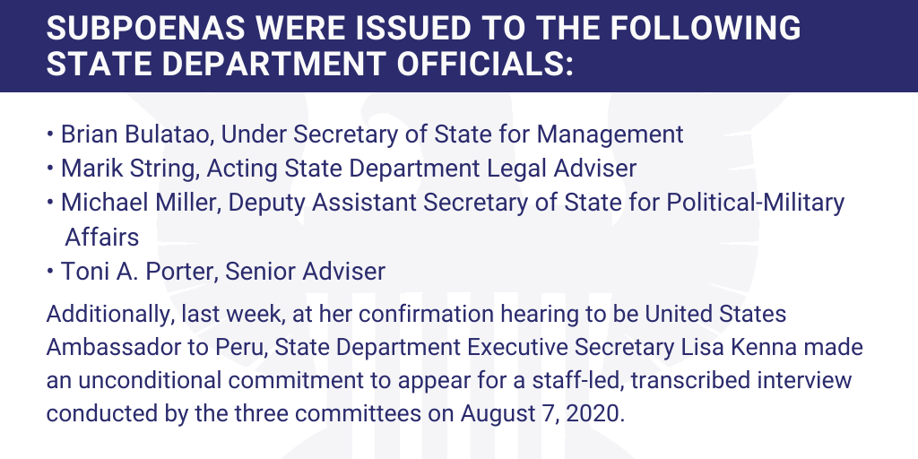 BREAKING: Chairs @RepEliotEngel & @RepMaloney and @SenatorMenendez announce subpoenas for witnesses in the investigation of President Trumps firing of State Department IG Steve Linick.