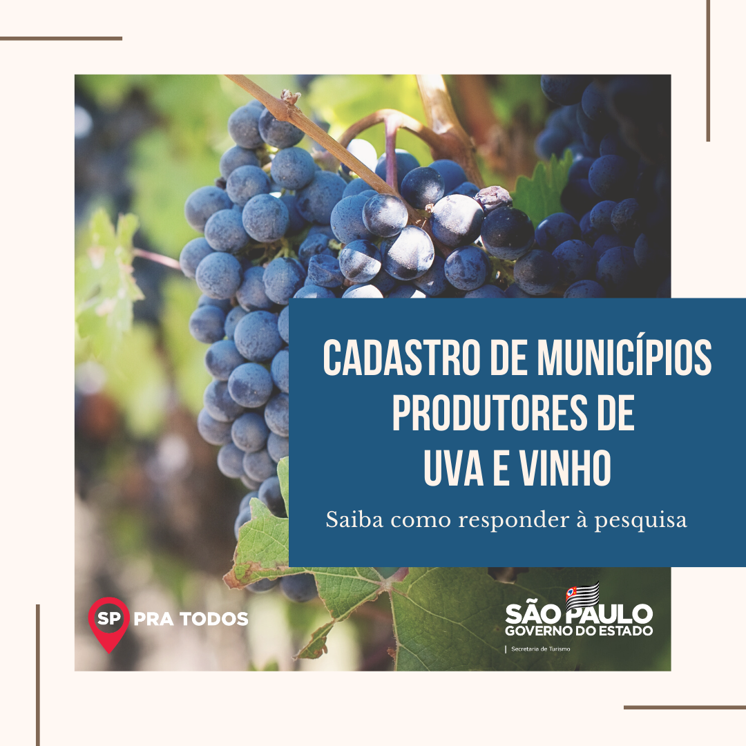 Pesquisa sobre enoturismo apoiada pela Secretaria!   O objetivo deste cadastro é mapear os municípios que trabalham com uva, vinho e enoturismo para desenvolvimento de projetos no segmento.  Acesse o formulário: https://t.co/a07P77JDXR   #Turismo #Enoturismo #Pesquisa https://t.co/hlfTQlrLYh