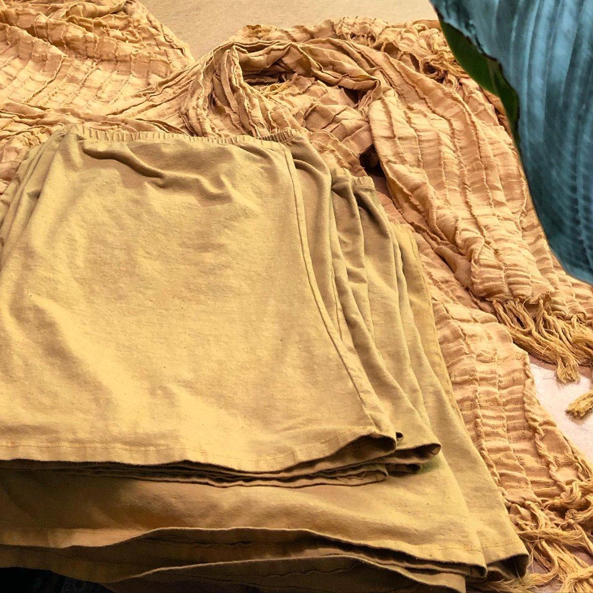 Fresh dyed Tube Tops & Raw Cotton Scarves in MARYGOLD #golden #ecofashion #organiccotton #workingweekend #handdyed #naturalfibers #rawcotton #hemp #organiccottonpic.twitter.com/RAhyg7cgWU