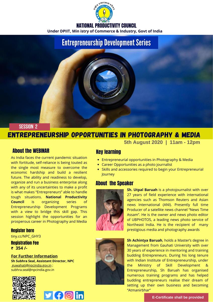 "#RegisterNow for #webinar on ""Opportunity in Photography & Media"" on 5th #August at 11am  visit http://tiny.cc/NPC_GHY3  #SanskritDiwas  #Business #BusinessNews #Economy  #RamMandir  #WednesdayMotivation  #Google #GooglePixel #Technology #Gadgetspic.twitter.com/CPkE8j7Q5G"