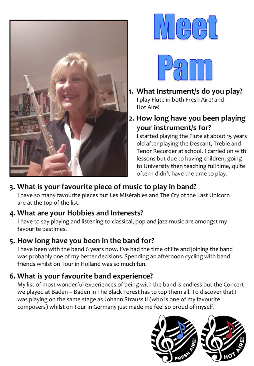 Our next band profile is Pam one of our Flute players  #flute #music #concertband pic.twitter.com/QmEbOLzTOd
