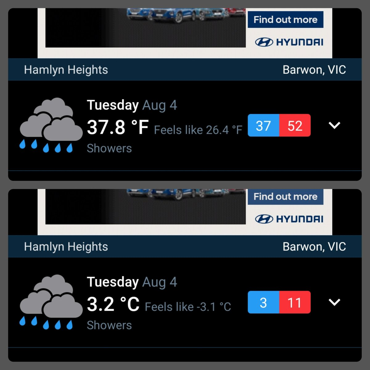 Ouch. It's 3.2°C/37.8°F but with the wind chill it feels like -3.1°C/26.4°F  #australianwinter #winter pic.twitter.com/u8f4CqdJdV