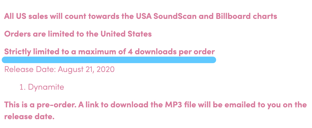 The BTS US Store/Dynamite store lets you purchase up to 4 copies of the single per order.   There's an important reason for that.   4 is the maximum number of copies you should purchase per order because that's the most that will count as individual, official sales for Billboard. https://t.co/fi88xqjzkS