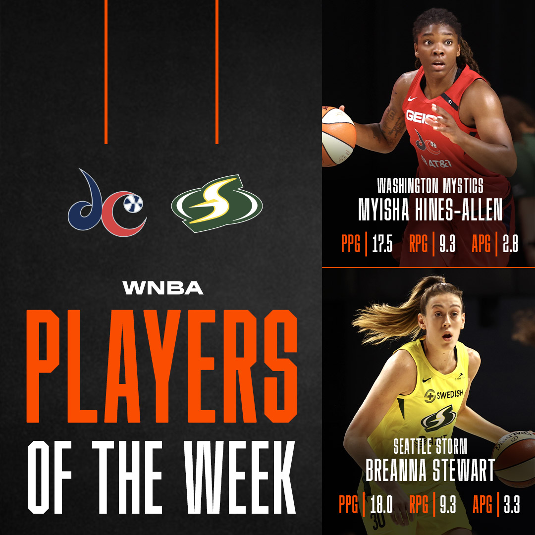 Congratulations to @breannastewart & @Mooks_22 for earning the first #WNBA Players of the Week honors of the season 🔥 https://t.co/bTtziHaItH