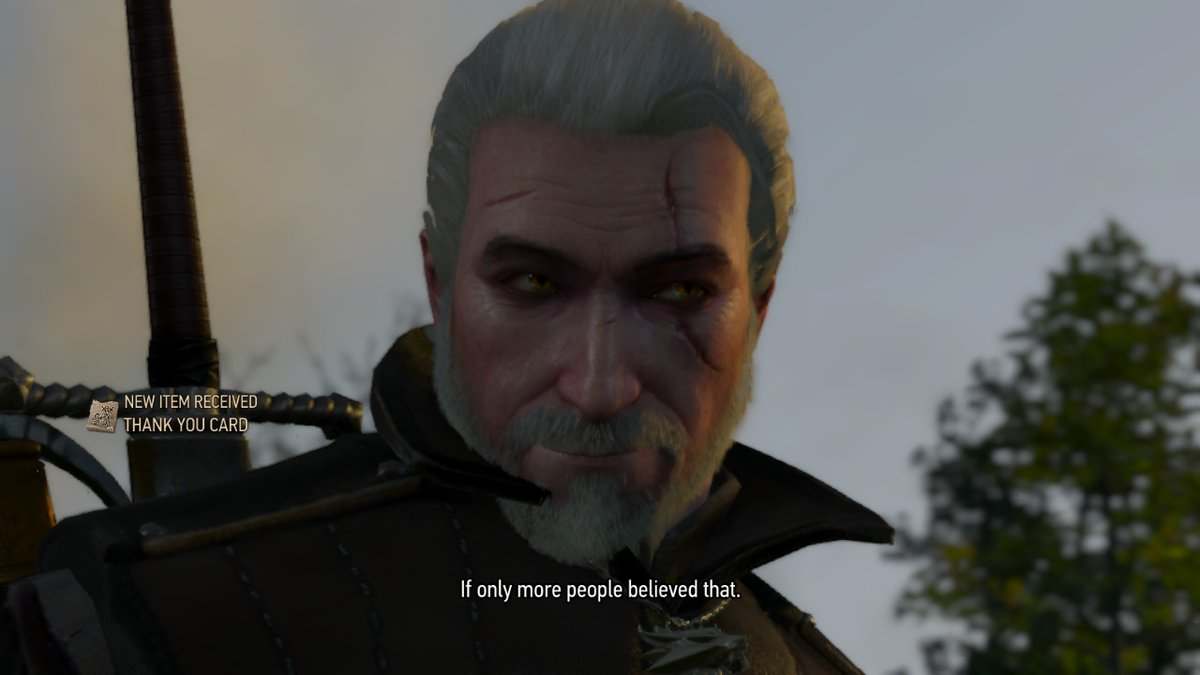 Geralt's grandpa smile after he received a thank you note from a little girl and Geralt's mad artistic skills #Witcher3 pic.twitter.com/RUkLZ3ziPi