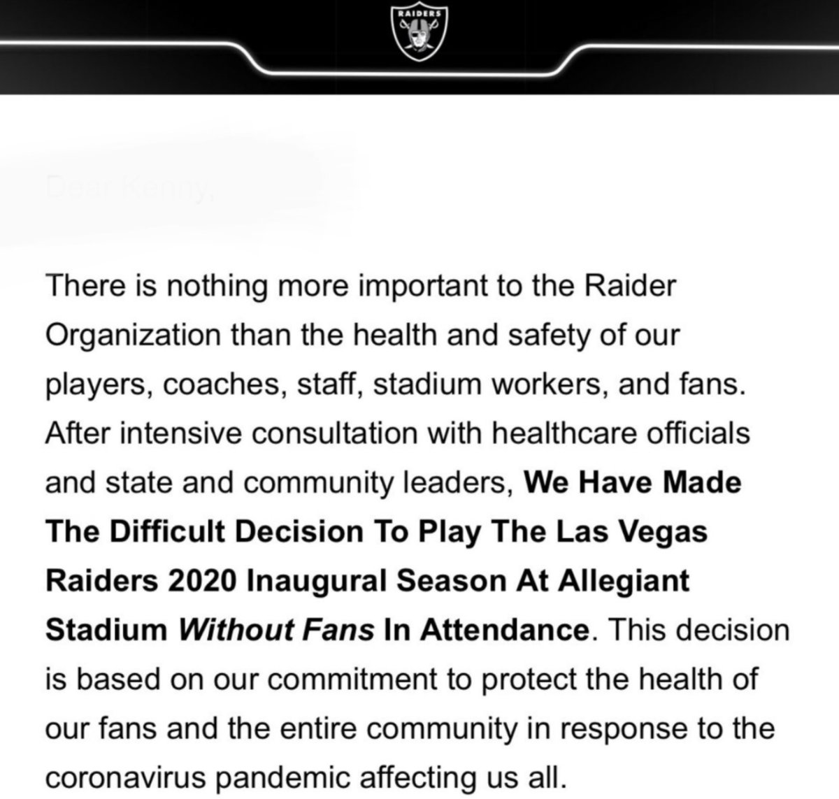 The Las Vegas Raiders, opening one of the NFL's two new stadiums this year, will play the 2020 season without fans. https://t.co/BBn8eTtDQs