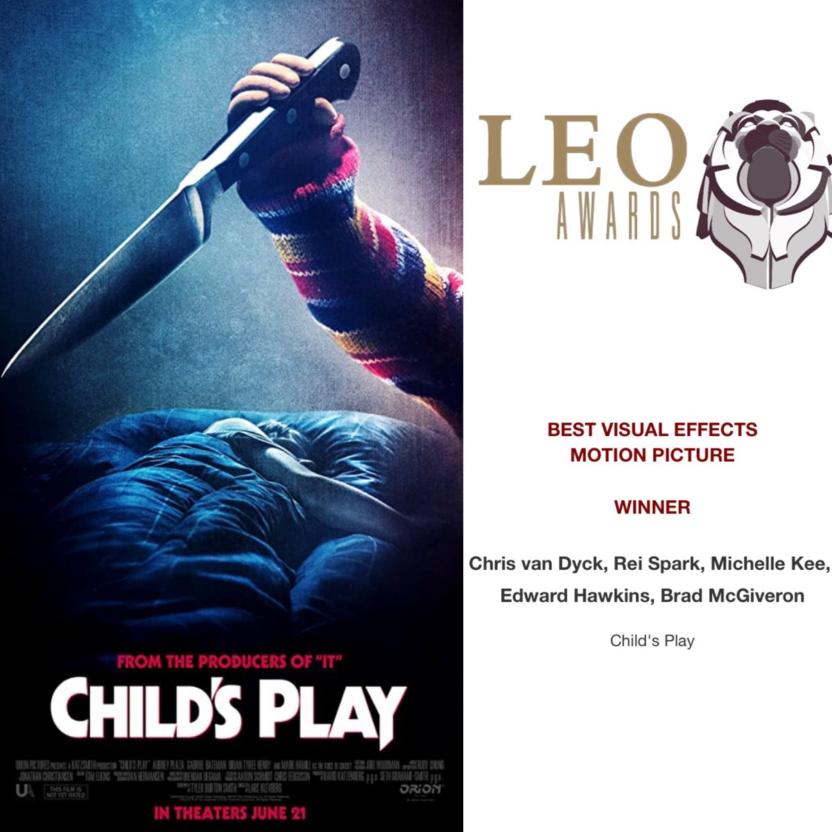 Congratulations to our Vancouver team on winning BEST VISUAL EFFECTS for a Motion Picture at the @LeoAwards for @ChildsPlayMovie! #LeoAwards #Vancouver #ChildsPlay #VFX #VisualEffects #CraftyApesVFXpic.twitter.com/vZvkgSXdzN
