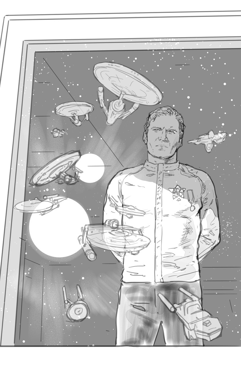 Here are the roughs for the cover to Star Trek: Year Five #13, out this Wednesday. I still kinda like the second one, where the Enterprise makes up the shape of the Starfleet badge on Kirks chest. Colours by @charliekirchoff