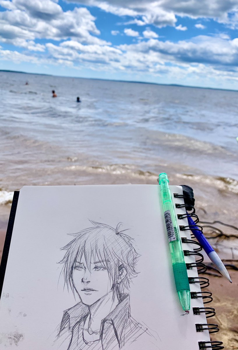 Lake day~ ( ´ ▽ ` ) Did a little sketching in the sun. I don't get out often so this was nice.  #artist #lakeday #sketch #drawing #FinalFantasyXV #fanart #NoctisLucisCaelum #noctispic.twitter.com/B16fn8qh78