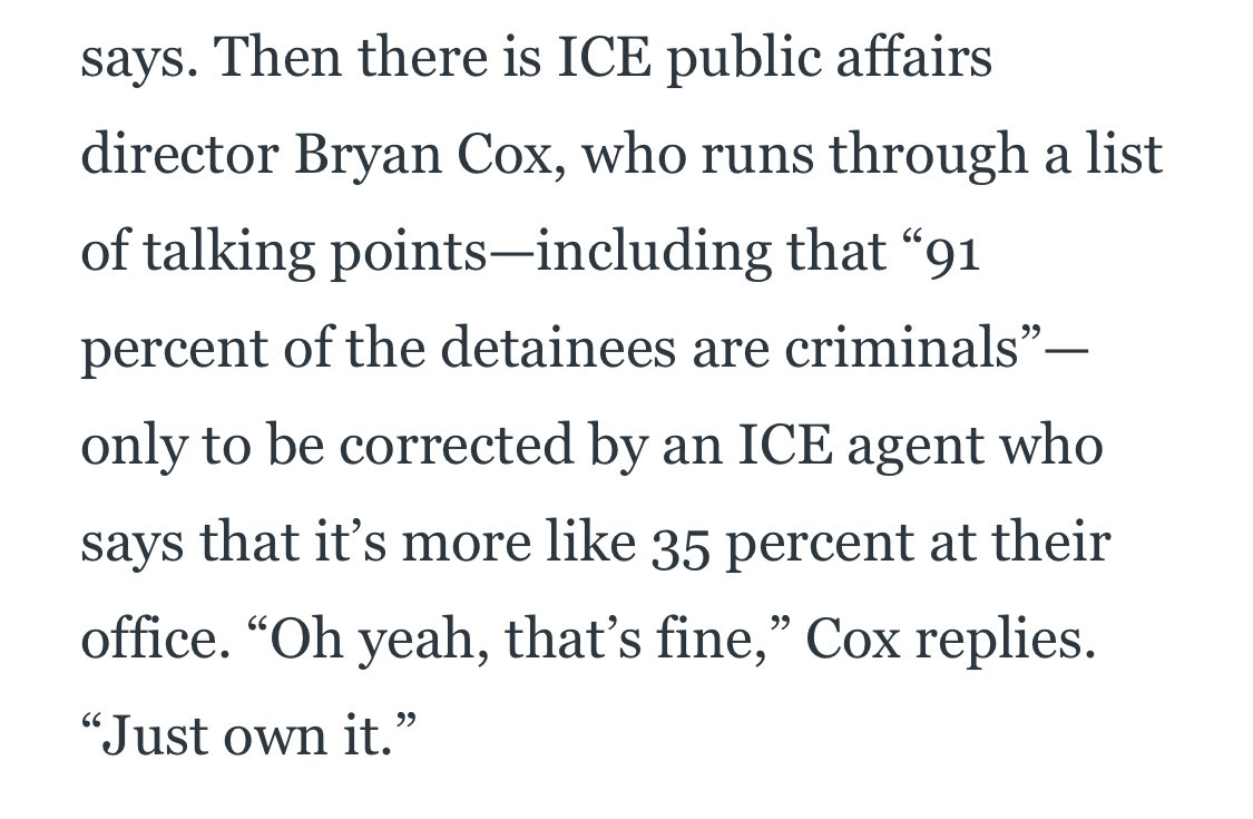 ICE statistics on arrests/deportations have always been a little fuzzy but this quote from an agency spokesperson in a Netflix documentary that dropped today is...wow. thedailybeast.com/inside-netflix…