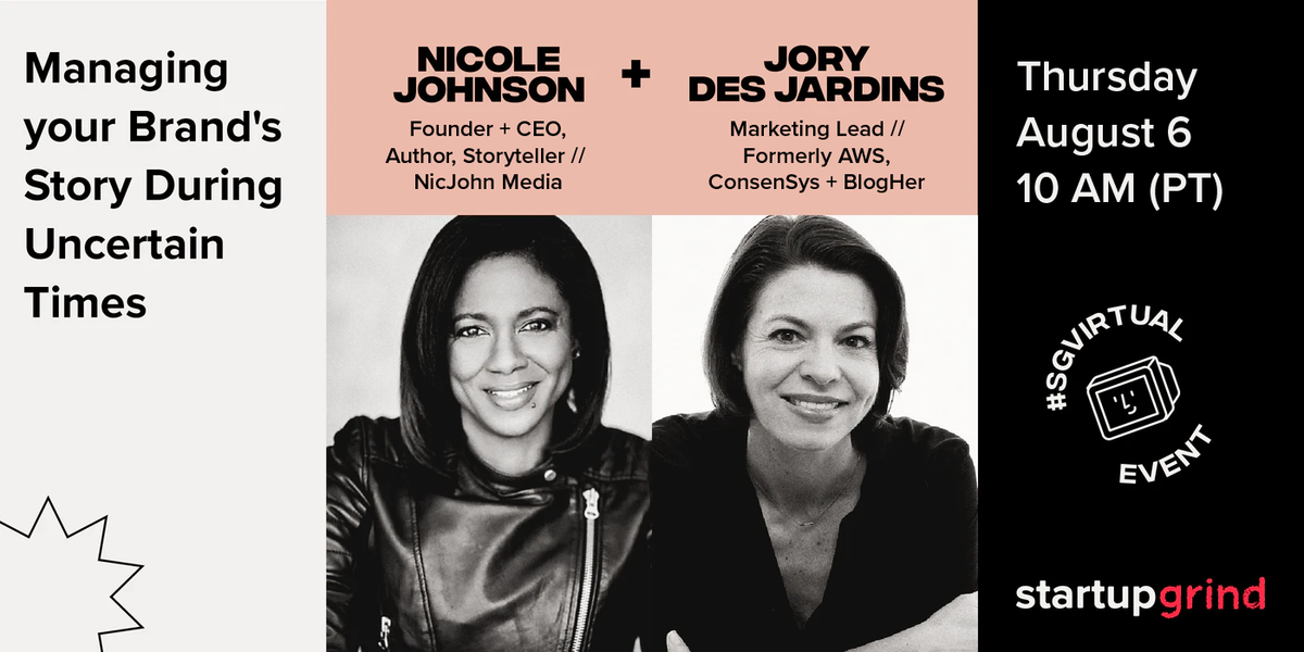 Brand, marketing, and storytelling experts @nicjohnmedia  and @JoryDJ will walk you through early-stage branding efforts. With little to no budget, investing in flashy marketing strategies can be impossible. Set your brand's tone from early on. RSVP here  http://bit.ly/2DvFx3w pic.twitter.com/jcLaUmRuWP