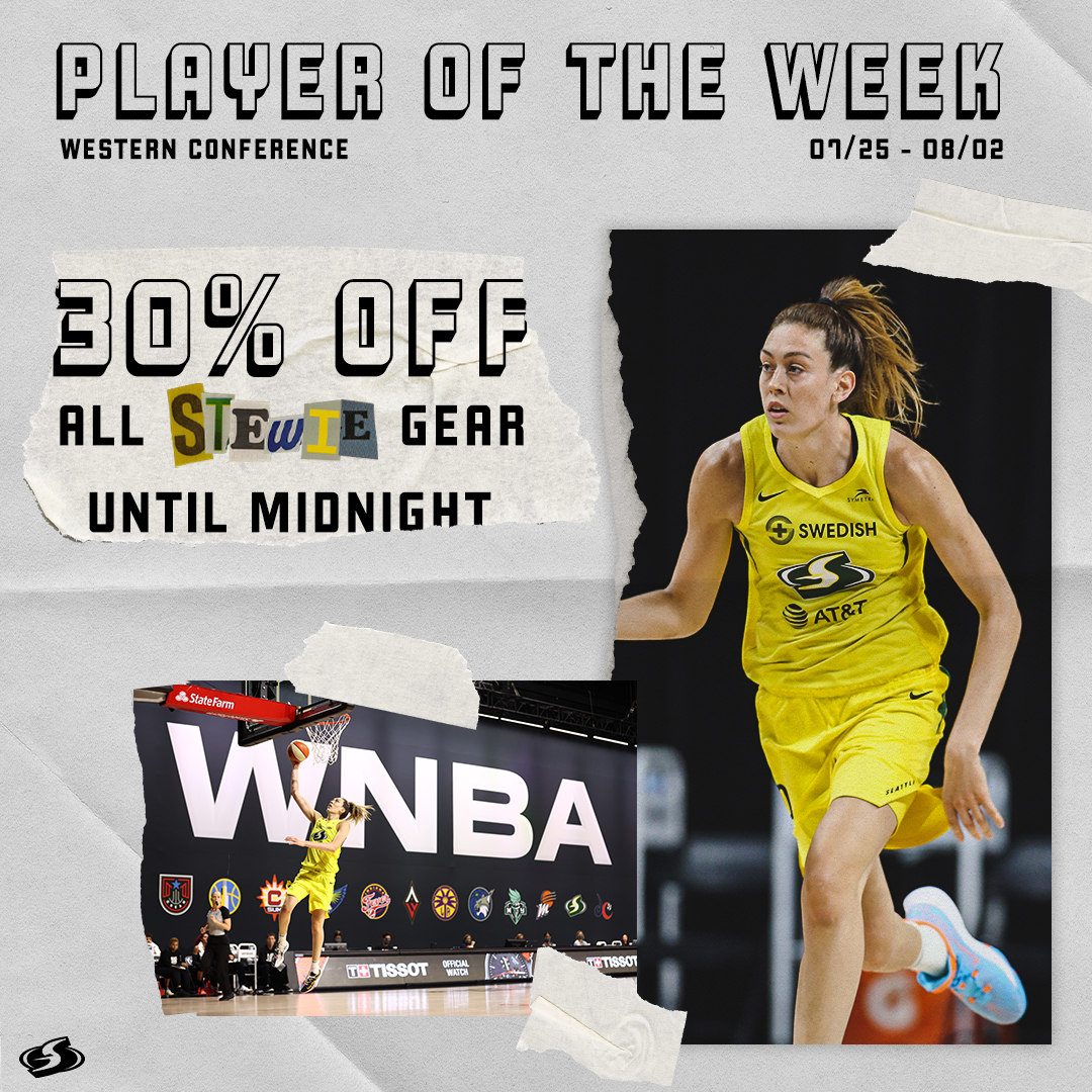 💲 30% OFF STEWIE GEAR💲  In honor of our @WNBA Player of the week, take 30% off ALL @breannastewart gear from now until midnight! 🙌  Shop Here ⤵️ https://t.co/KB5b8CkC6U https://t.co/uTMaQn6Vss