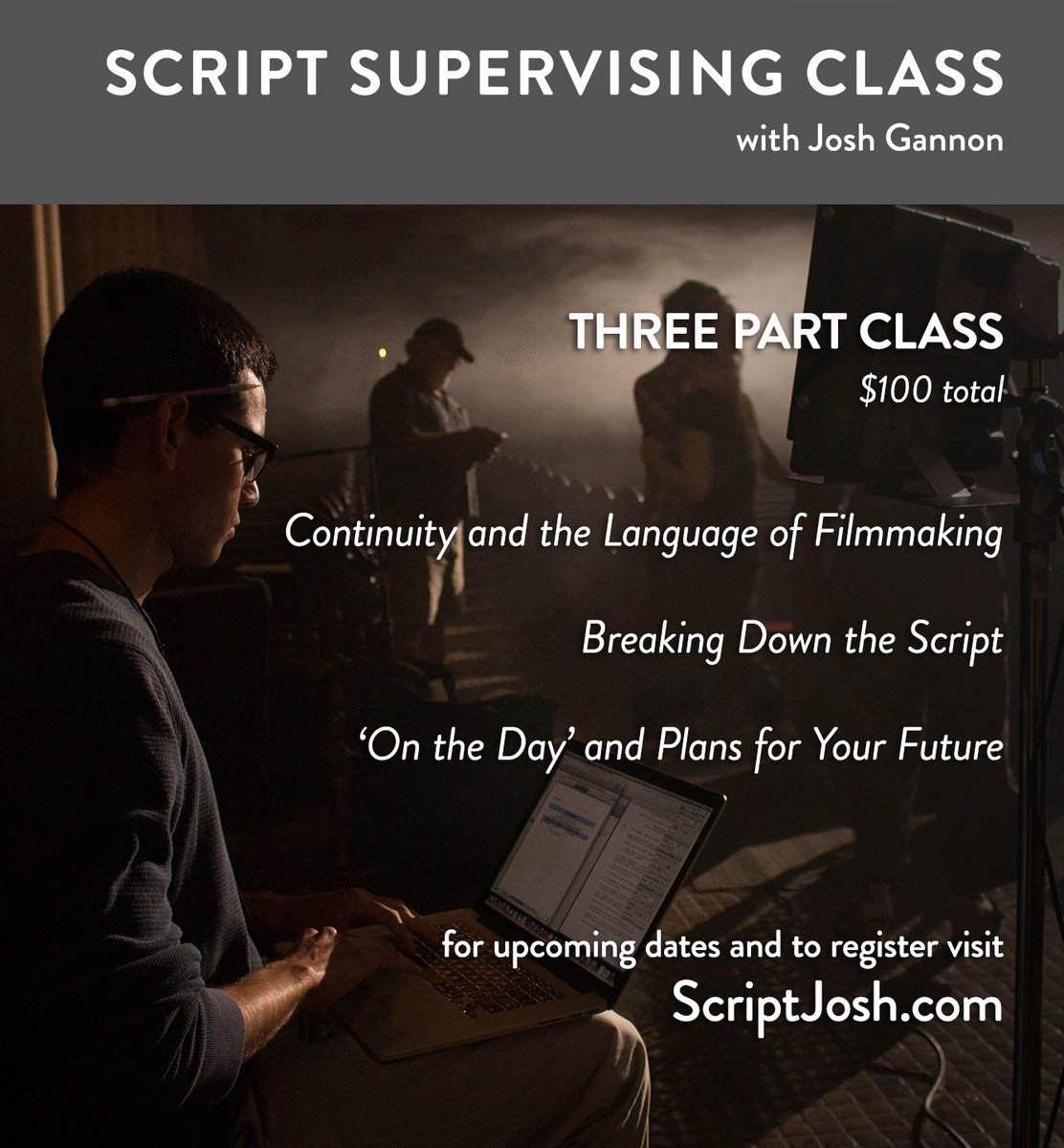 DATES ADDED! Share if you can. Offering 3 courses this month on Script Supervising, if u or someone u know is interested. $100 total.  REGISTER at http://www.scriptjosh.com #scriptsupervisor #production #crew #movingmaking #zoom #webinar #education #filmschoolpic.twitter.com/75iTHwb4FV