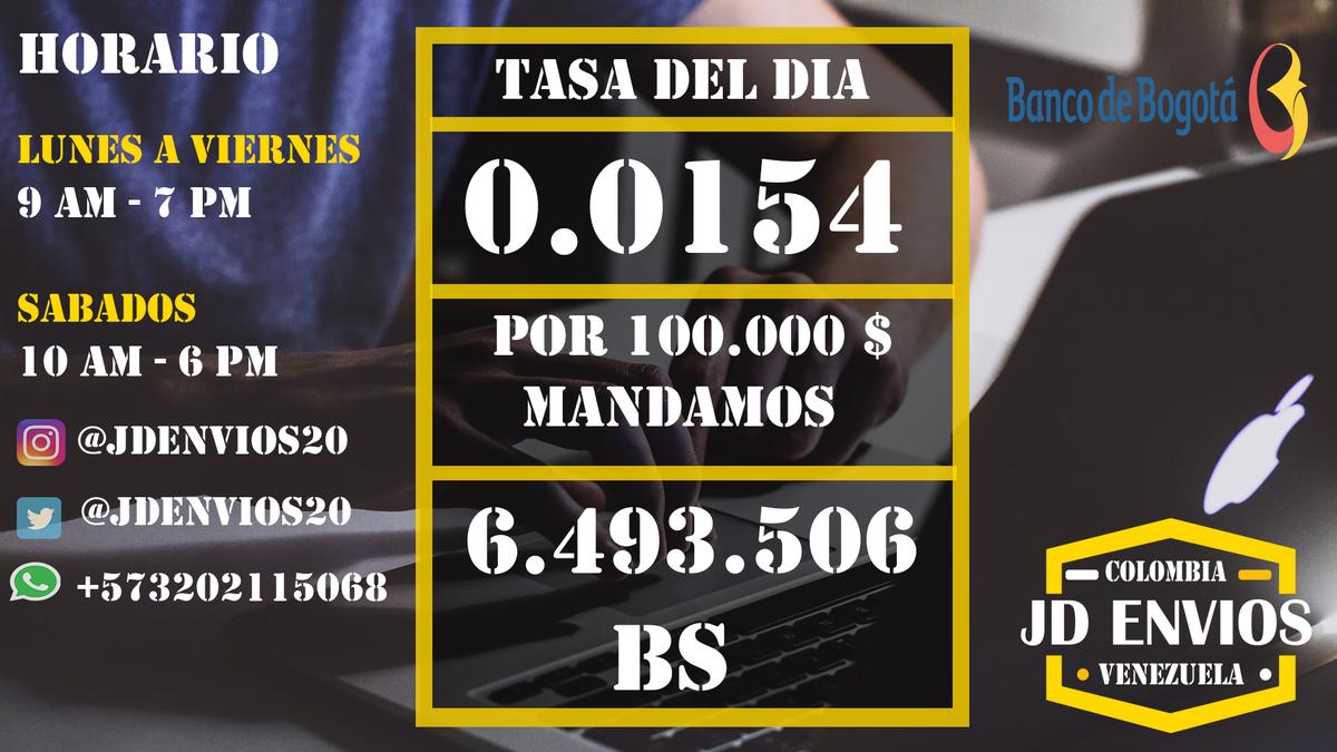 Tasa actualizada : 3 de julio del 2020 Recibimos desde : *Banco de Bogota                                                   Enviamos para :      *Todos los bancos en venezuela                               *Pago movil https://t.co/qwFDiFpE9U