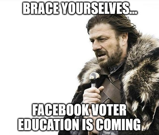 "Facebook announced a curriculum to prepare users for mail-in voting for the 2020 election. The idea that Facebook will ""educate"" U.S. voters is laughable, considering they're known for spreading misinformation on literally every topic known to man. http://ow.ly/xNcG50APBRa pic.twitter.com/N55pJfDL7n"