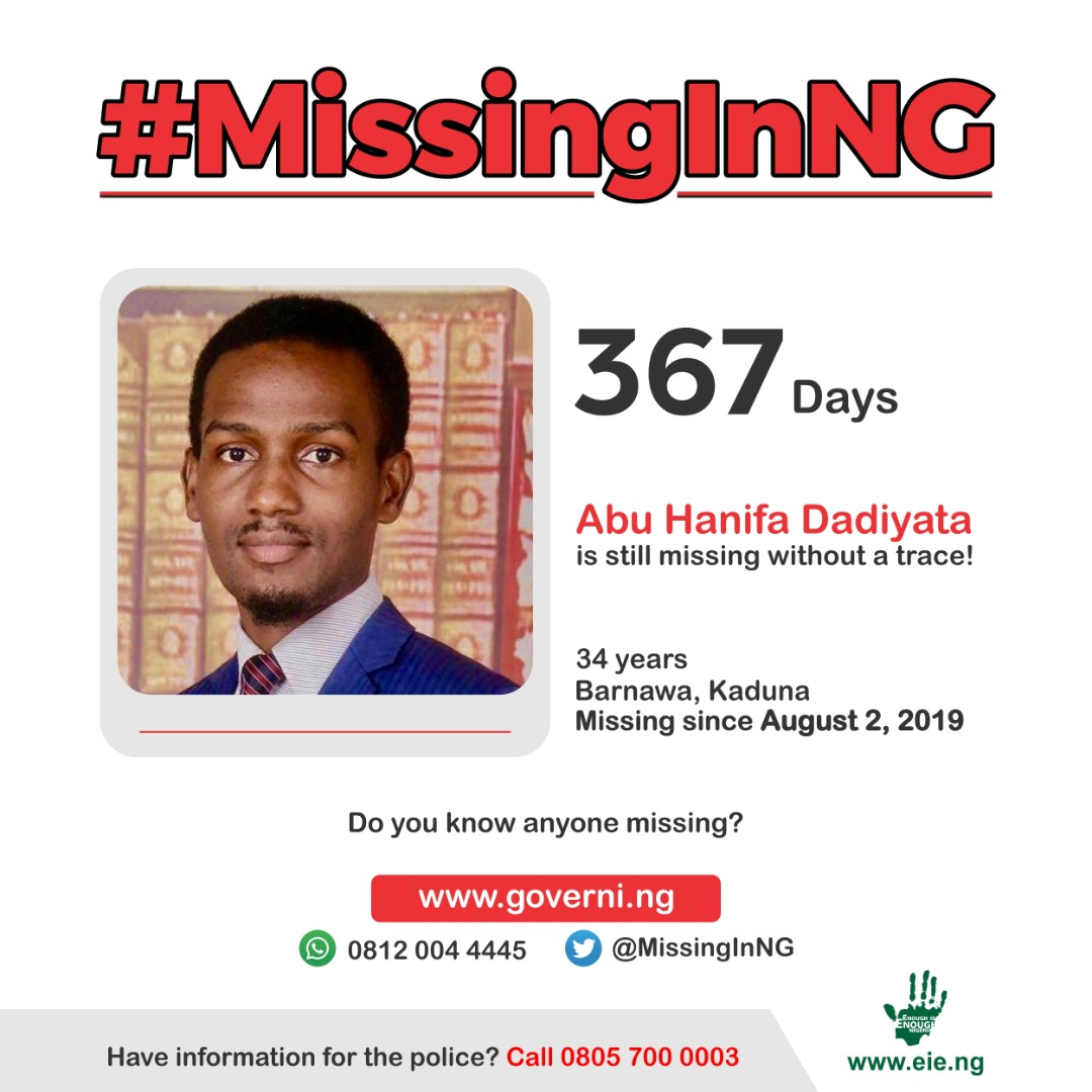 367 DAYS since Dadiyata was abducted by heavily armed men while driving into his residence in Kaduna state. If he is not with either the @PoliceNG or the DSS, the question now is: Where exactly is he? Where is Dadiyata? #MissingInNG @MissingInNG https://t.co/Zfn6bpuDVB