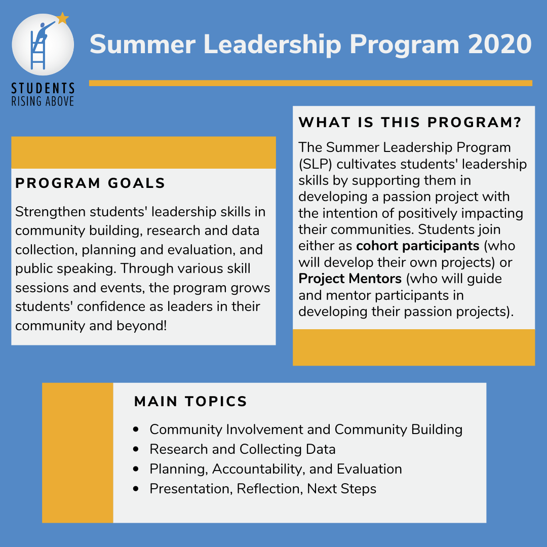 SRA Summer Programs are in action! We are still making waves this summer at Students Rising Above with our incredible SRA Summer Programs, including our Summer Leadership Program 2020! Students are currently finishing up their outstanding passion projects. https://t.co/dPla7d8m4a