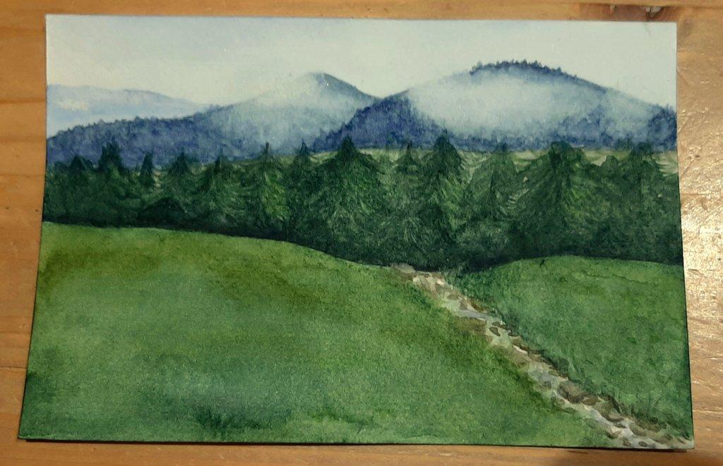 J'ai fait une petite aquarelle (format carte postale) parce qu'il faisait pas beau dehors   C'est pas simple de peindre si petit alors n'hésitez pas à partager si ça vous plaît pic.twitter.com/KbDZSnXO9w