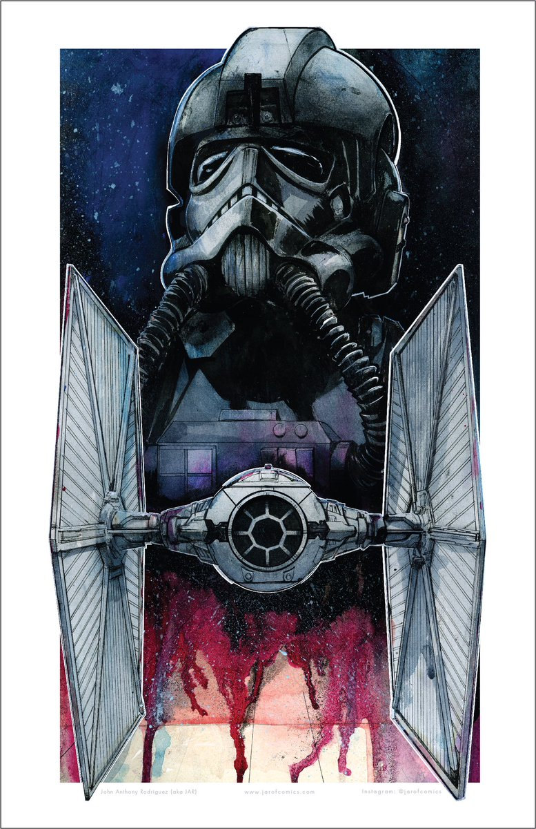 Finally, new art! It's the first piece i have made in my new home and new studio.  Tie Fighter and Pilot Water color and Ink Art by John Anthony Rodriguez  . #starwars #tiefighter #tiepilot #watercolor #ink #painting #starwarsart #scifiart pic.twitter.com/fCvmaKkaJV