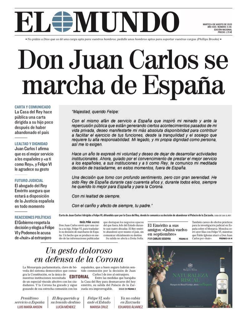 Otra portada para guardar. Otra portada para la historia de España.  Y aún nos quedan cinco meses para que acabe este 2020. https://t.co/4oRAaRkXTL