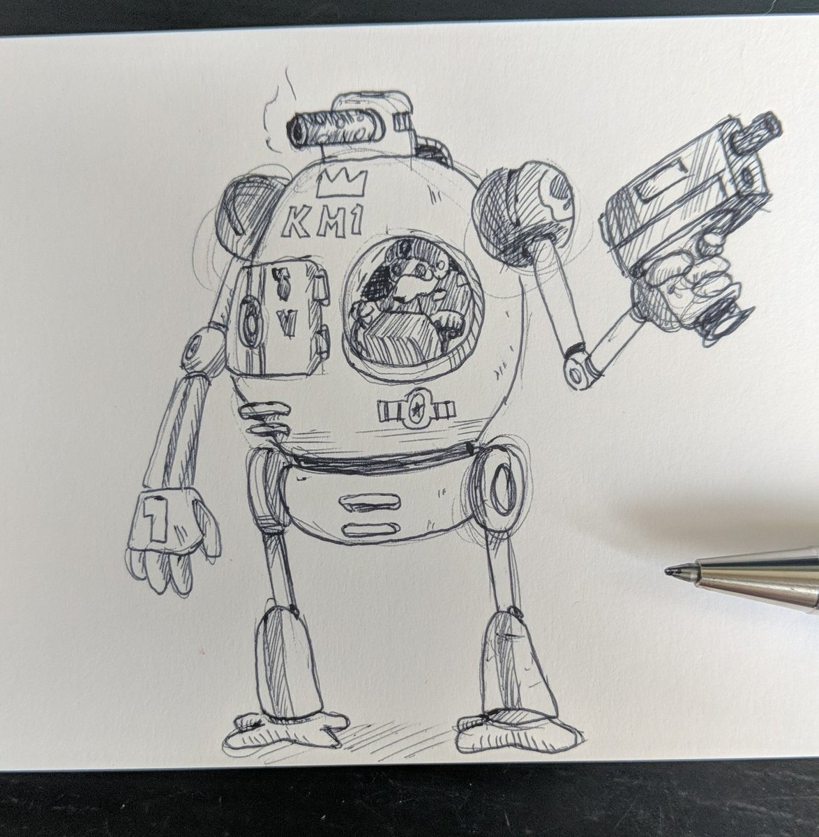 I bet you thought I forgot...  But I didn't, so here's more #doggo #Mecha action for the #dailydrawing   Kingdom of Morocco urban assault model with a lefty asymmetrical cockpit. pic.twitter.com/rTEUtF8r6a