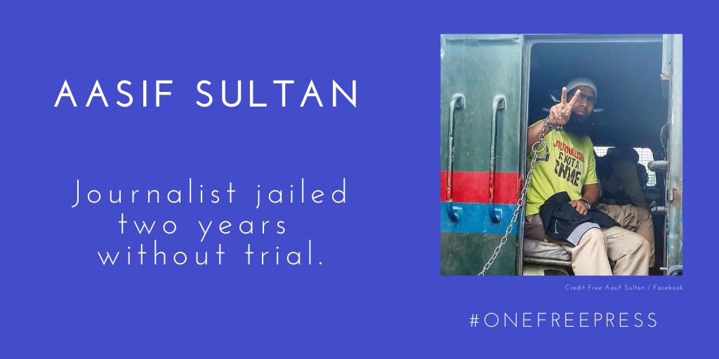 """August 27 marks two years behind bars for Aasif Sultan, a reporter who was charged months after his 2018 arrest with """"complicity"""" in """"harboring known terrorists."""" #OneFreePress cpj.org/data/people/aa…"""