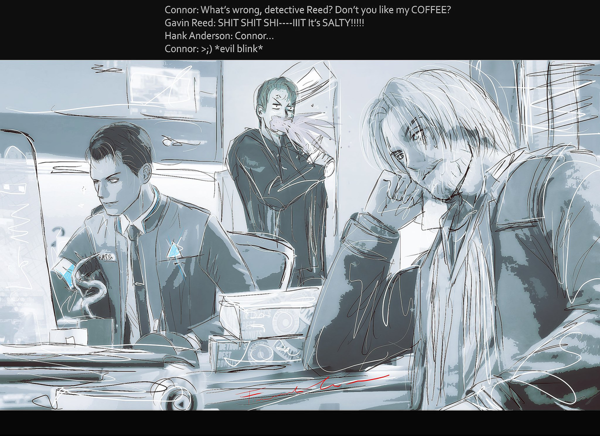 What's wrong, detective #Reed? Don't you like my #coffee? A little revenge for the 4 theme of #DechartGames art Prompt August#ConnorArmy #Connor #rk800 #Gavin #DetroitBecomeHuman #dbhpic.twitter.com/g74dvk5DPi