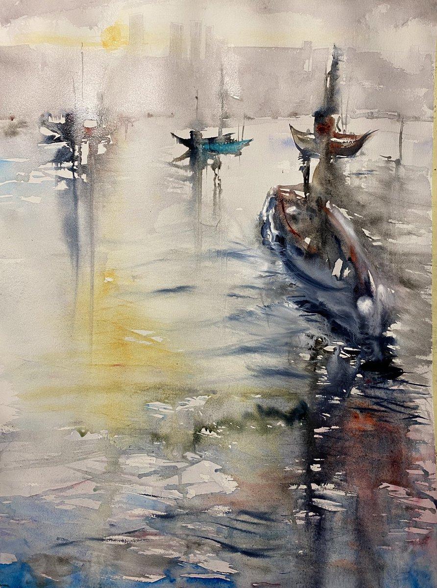 Lights that are reflected in the water #acquerello #artes #figurativeart #pintura #watercolor #artist #passion #inspiration #artwork #contemporaryartist #portrait #watercolorartist #sketchers #watercolorpartice #aquarelle #decor #artists #veneziapic.twitter.com/7YuMXmskQ4