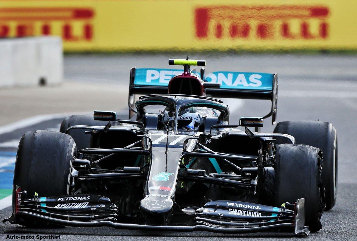 Valtteri Bottas (Mercedes) a vu son pneu avant gauche se délaminer à moins de 3 tours de l'arrivée du Grand Prix de Silverstone 2020, Valtteri a perdu gros au championnat. F1 - Circuit de Silverstone - Grande Bretagne - Formule 1 pic.twitter.com/8shCpL9VJw