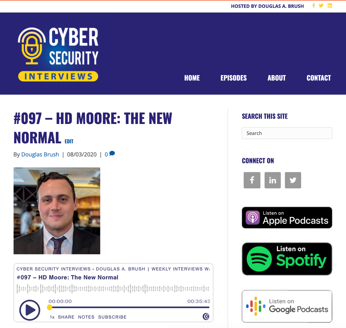 Ep. 97 of the #podcast is live with @hdmoore! https://cybersecurityinterviews.com/episodes/097-hd-moore-the-new-normal/… We discuss starting with BBSs back in the day, starting the @metasploit, project Sonar, his development of @RumbleDiscovery, fingerprinting networks, jump boxes in #IoT networks, and so much more.pic.twitter.com/DPGj6el79e
