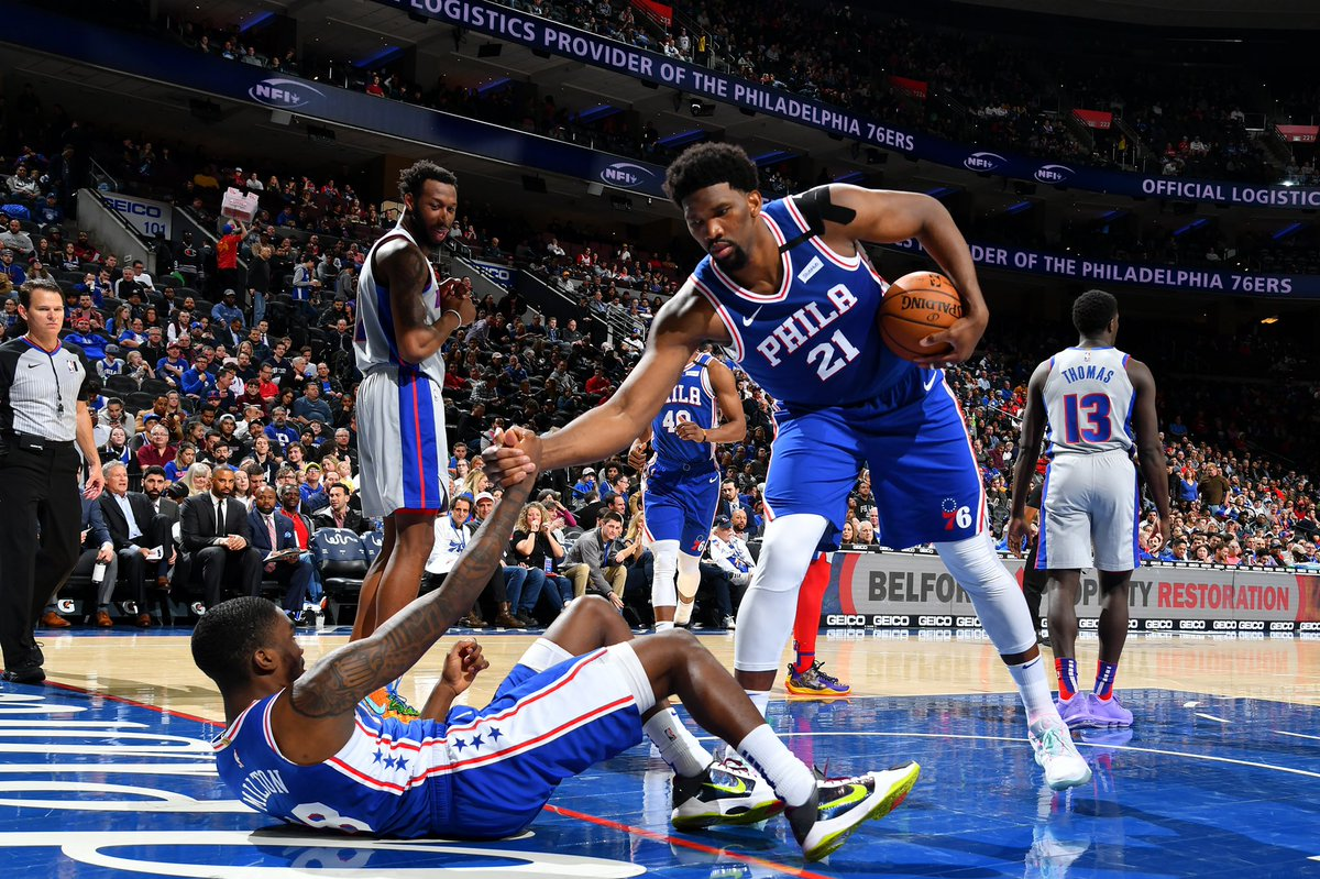"""Shake came up to me before the game and said """"IT BECAME PERSONAL FOR ME"""" just like MJ lmao!! Nice shot young fella #TheProcess https://t.co/8XMQVdo2Wd"""