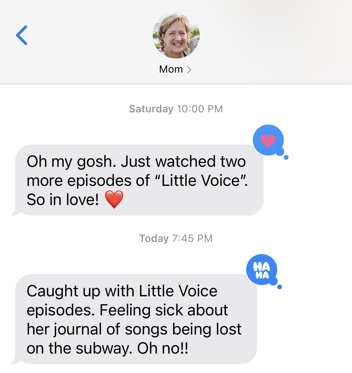 @SaraBareilles - mom is super invested in #LittleVoice https://t.co/eXh6DnelxT