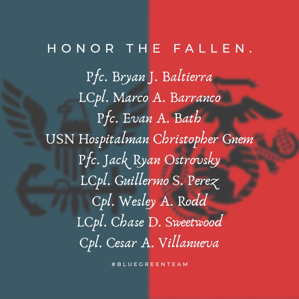 Fairwinds and following seas, Shipmates. We have the watch.   The 8 Marines and 1 Sailor who lost their lives in a training exercise on July 30, 2020 have been identified.   Their loss is felt by our entire Navy and Marine Corps family and, they will never be forgotten. https://t.co/mYgDDNGxVd