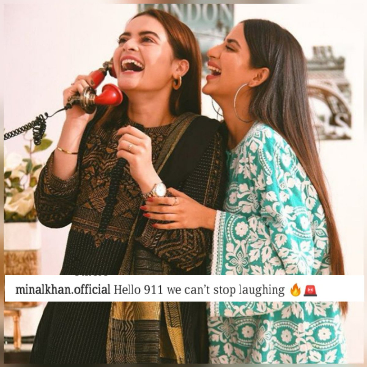 "#MinalKhan just shared a picture on #insta with the caption ""Hello 911 we can't stop laughing"" Does she is taking a dig on #sarahkhan who recently seen #laughing a lot on her wedding or they really hv enjoyed a lot each other's company. Well, we leave it up to you guyspic.twitter.com/6XgW6bldTf"
