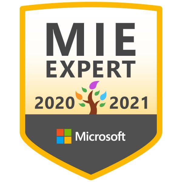 I'm very excited to have been chosen as a #MIEExpert for 2020-2021 for the second year running. #MicrosoftEDU