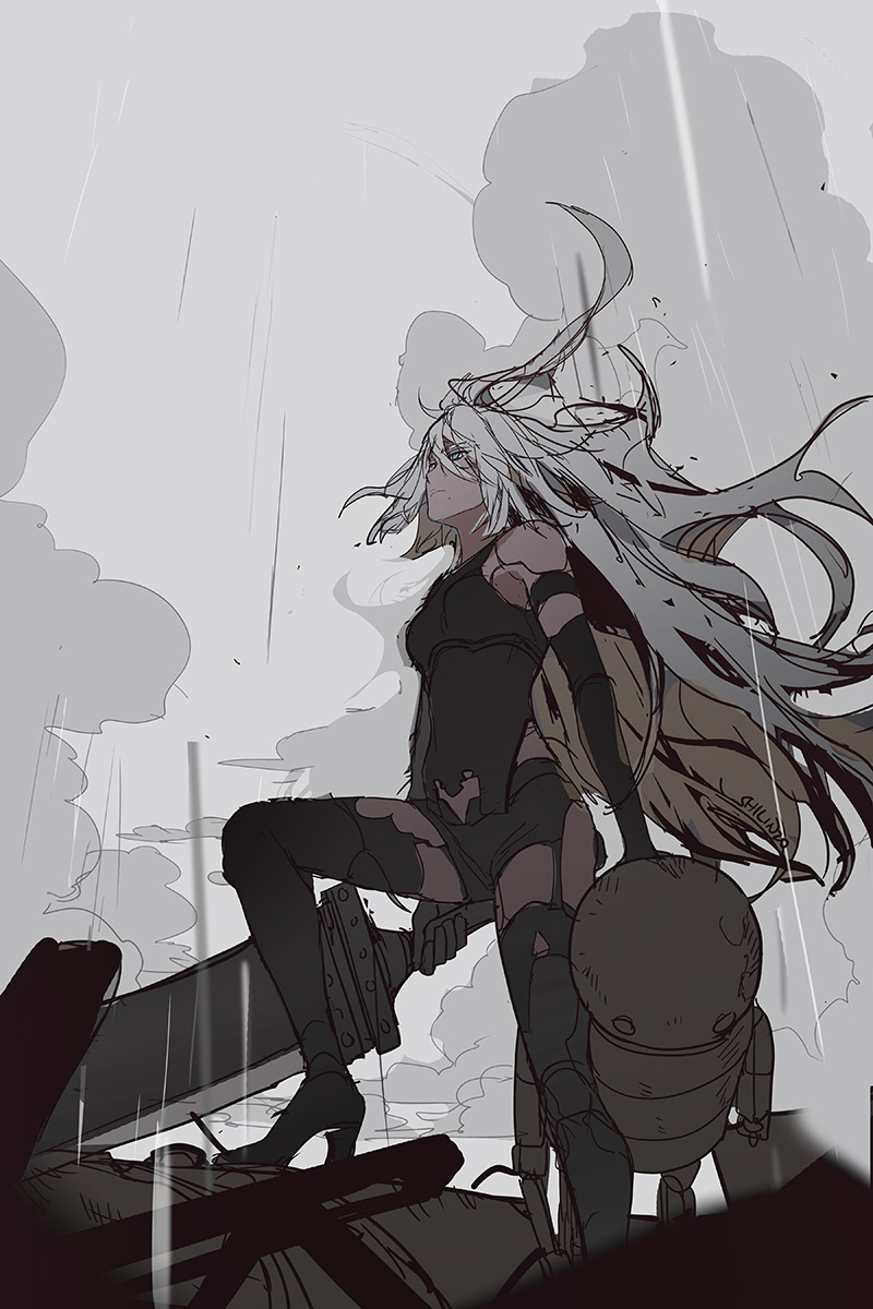 RT @Okolnir: sketched A2 for a friend, no spoilers pls i haven't finished the game ;_; https://t.co/wBR645pj5j