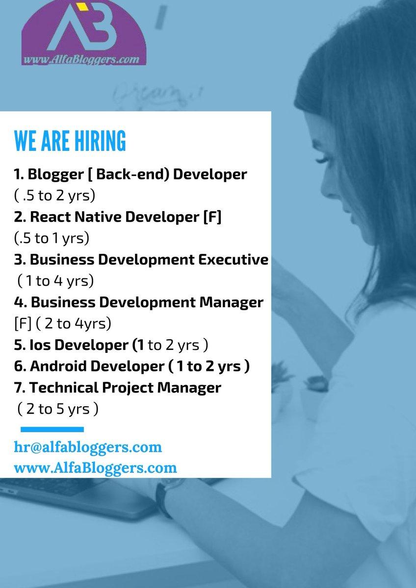 We are Hiring   hr@alfabloggers.com  http://www.AlfaBloggers.com  Visit- https://aerosoftin.blogspot.com/2020/08/hiring-for-following-profiles.html…  #hiring #aircrewsaviation  #workfromhome  #blogger  #businessdevelopment  #iosdeveloper  #androiddeveloper  #workfromhome. #workfromhomebusiness. #businessopportunity. #Exjetairways.pic.twitter.com/lcPD1SosKR