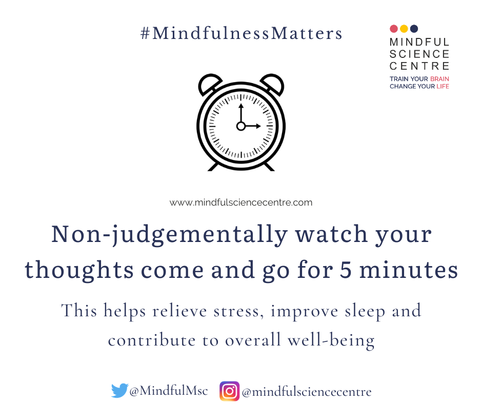 #MindfulnessMatters  Non-judgementally watch your thoughts for 5 minutes!   Helps relieve stress, improve sleep & contribute to well-being.   Join Certified Mindfulness Foundation Trainer Program.   Register: http://bit.ly/3gx3BkK  @mbehl1 @MindfulMsc  #mftp #mindfulnesstrainerpic.twitter.com/31jf5ojJKy