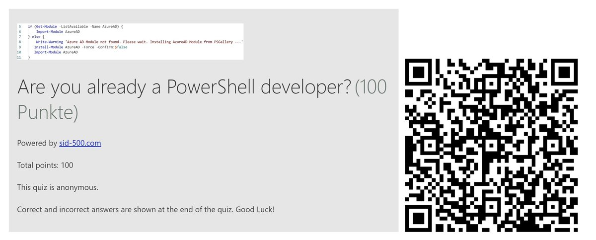 PowerShell Quiz:  Are you already a PowerShell developer?  Simply scan the QR Code or use the link.  Good luck!   https://forms.office.com/Pages/ResponsePage.aspx?id=MMm1dK-PC06hYwvwtRyLplSkpG3aoPJDvZ2-hNjgxhFUNkxXS05IU0k3VDgyUE5WWE00QkE3VEw4RS4u …  #PowerShell #DevOps #Programming #Scripting #developerpic.twitter.com/Jmq8LXBCC4