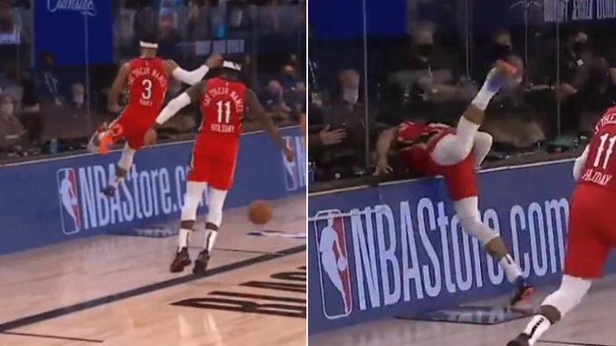 【影片】這一幕太驚險!Hart救球跳出場外收不住,一頭撞上了隔離的玻璃牆!