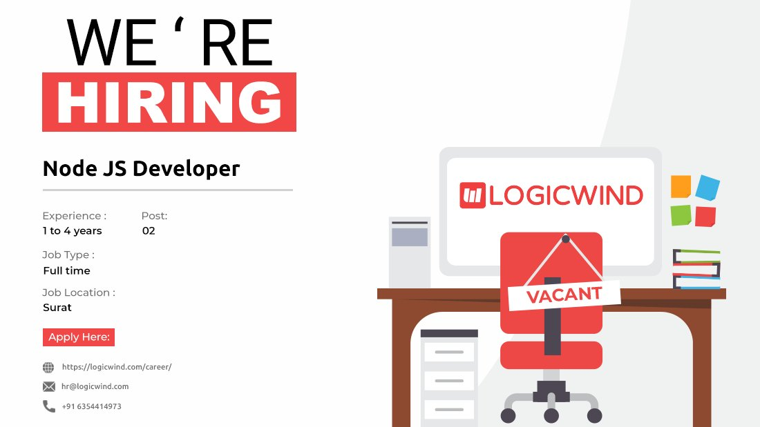 We are hiring for Node JS Developer!  #surat #nodejs #nodejsdeveloperpic.twitter.com/n5SUyzyduV