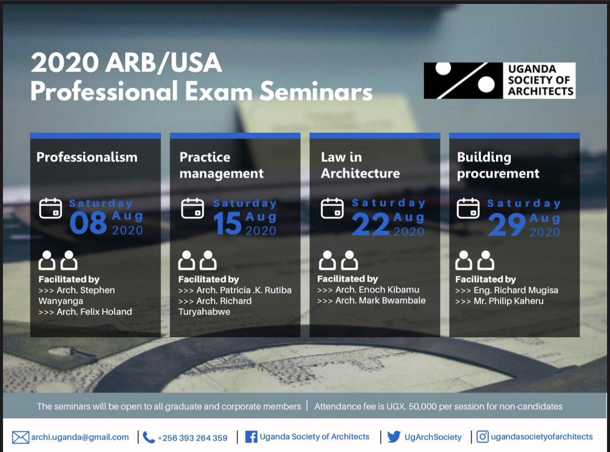 Board of Education, Uganda Society of Architects invites graduate and corporate members to the Professional Exam Seminars... @Arch_KE @architectandre @UIA_Architects @KKCONSULTINGAR1 @ArchForumUganda @IAZimbabwe @AUA_UAA @WanyangaStephen @ArchSsinab @kaigu55 @ASA_IUEA @ARBUganda https://t.co/hPaGJyueas