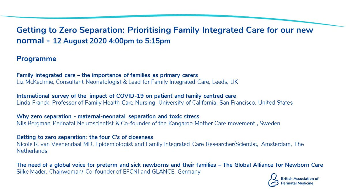 New programme of @BAPM_Official webinars kick off next week - focus on #familyintegratedcare with an guest speakers from the US, Germany & Sweden and Netherlands @ESPNIC_Society @nicolevan_vee @karel_obrien @NilsBergman @DeierlA @HUGrhc @LeedsNeoEd https://t.co/nieYC1AQUt