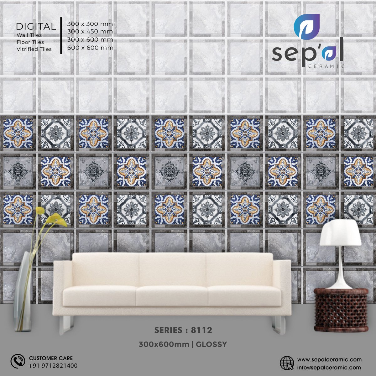 Series no 8112 | 300x600mm | Glossy #sepal #Sepalceramic #vitrified #manufacturing #tiles #ceramics #matt #glossy #Exporter #walldecor #Digitalwalltiles #TilesOfIndia #manufacturer #InteriorDecor #digitaltiles #sepalDesigns #Moderation #morbipic.twitter.com/MSEqn8u3wK