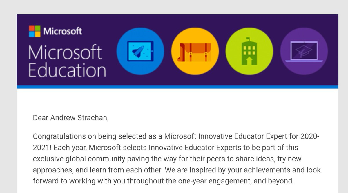 Absolutely buzzing to wake up to this....20-21 MIE Expert - can't wait to get cracking! #MicrosoftEDU #MIEExpert